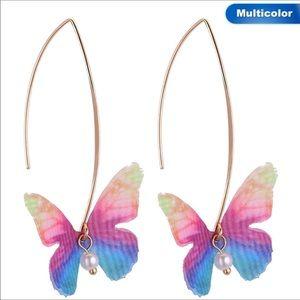 Jewelry - Multicolored Silk Butterfly long dangle earrings